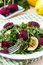 Stock Image : Fresh summer salad with arugula, zucchini, balls of beet