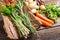 Stock Image : Fresh various vegetables on bark