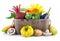 Stock Image : Fresh vegetables in wooden basket