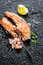 Stock Image : Freshly fried salmon served with lemon