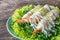 Stock Image : Fried Shrimp with cream salad and lemon