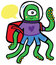 Stock Image : Friendly Alien Astronaut Traveler with Backpack