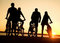 Stock Image : Friends on bicycles