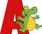 Stock Image : Funny Cartoon Alphabet-A With Alligator