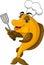 Stock Image : Funny cartoon cook fish