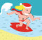 Stock Image : Funny Christmas Surfer in the Sea