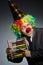 Stock Image : Funny clown businessman
