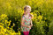 Stock Image : Funny little girl among yellow wildflowers