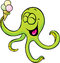 Stock Image : Funny octopus with ice cream isolated