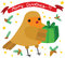 Stock Image : Funny Robin with Christmas Gift