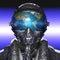 Stock Image : Futuristic pilot and planet earth