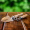 Stock Image : Gardening tools, rake and scoop on wooden table