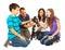 Stock Image :  Gelukkige familie die met een nieuwe hond instemt