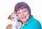 Stock Image : Gelukkige vrouw met haar weinig hond
