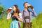 Stock Image : German couple in Tracht with beer, pretzel