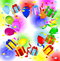 Stock Image : Gifts and air marbles on a bright christmas background