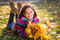 Stock Image : Girl with autumn leaves