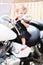 Stock Image : Girl Baby Motorcyle Rider