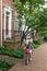 Stock Image : Girl Biking to School