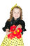 Stock Image : Girl with a bouquet of tulips