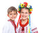 Stock Image : Girl and boy in the national Ukrainian costume