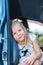 Stock Image : Girl in a car