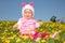Stock Image : Girl and Dandelions
