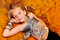 Stock Image : Girl in extravagant attire