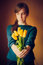 Stock Image : Girl Holding Bouquet  Flowers Tulips