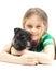 Stock Image : Girl hugging puppy