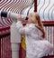Stock Image : Girl looking through binoculars