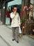 Stock Image : Girl and  Mask of Beijing Opera