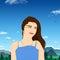 Stock Image : Girl among Mountains