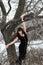 Stock Image : Girl near Oak