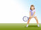 Stock Image : Girl  with  racket