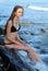 Stock Image : Girl and sea