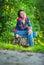 Stock Image : Girl sits on stub