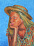 Stock Image : Girl with straw hat - drawing with colored pencils.