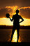 Stock Image : Girl Volleyball Sunset Silhouette Pose