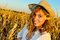 Stock Image : Girl in a wheat field