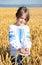 Stock Image : Girl on wheat field
