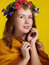 Stock Image : A girl with a wreath of flowers