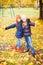 Stock Image : Girls at autumn