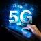 Stock Image : Global 5G network. Woman holding digital tablet.
