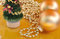 Stock Image : Gold christmas ornaments on gold background