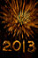 Stock Image : Gold fireworks and 2013 in sparkler writing