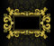 Stock Image : Gold frame in the rococo style on a black backgrou