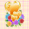 Stock Image : Gold hearts with flowers