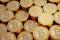 Stock Image : Golden Bitcoins - one golden Dollar coin