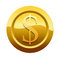 Stock Image : Golden dollar icon symbol (Path preserved)